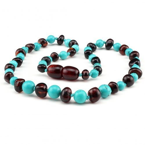 Baltic Pines™ Gemstone & Baltic Amber Teething Necklace or Bracelet - Dark Amber & Turquoise