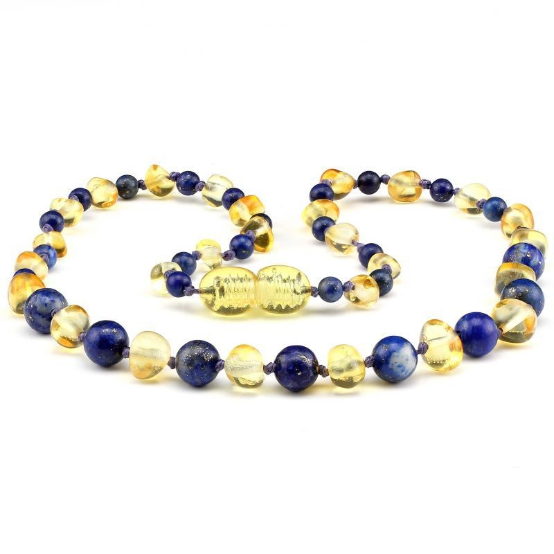 Baltic Pines™ Gemstone & Baltic Amber Teething Necklace  - Honey Amber & Lapis Lazuli