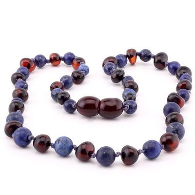 Baltic Pines™ Gemstone & Baltic Amber Teething Necklace or Bracelet - Dark Amber With lapis Lazuli