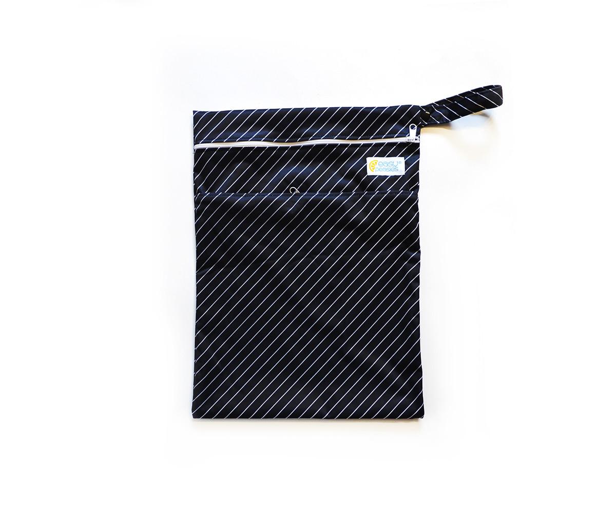 Easy Peasies® Dual Zipping Pocket Wetbag Travel Sack  - Pinstripe