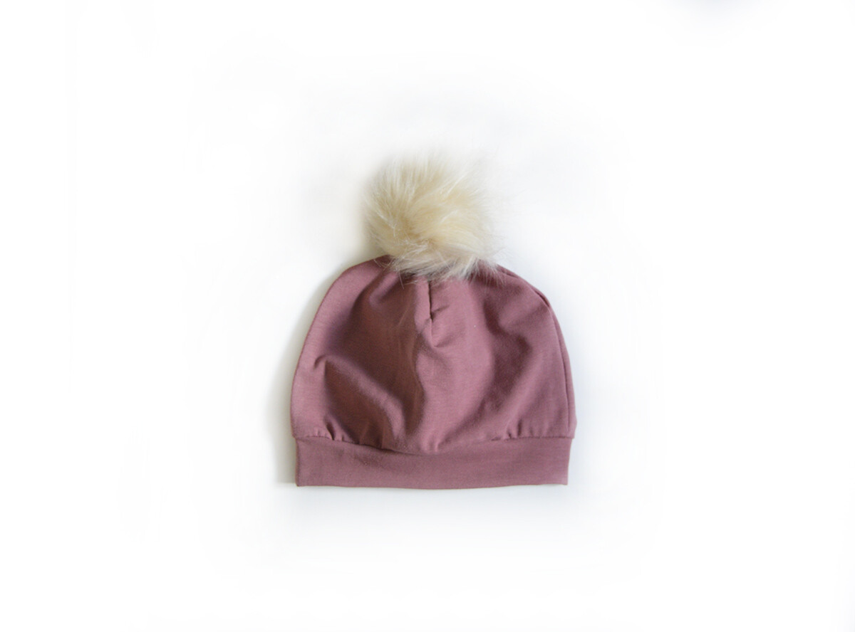 Little Sprout Pom Pom Beanie Hat in Mauve