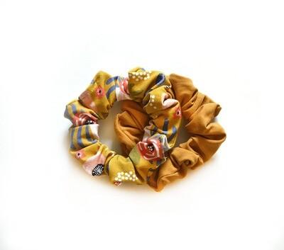 Zero Waste Scrunchy Set - Floral & Golden