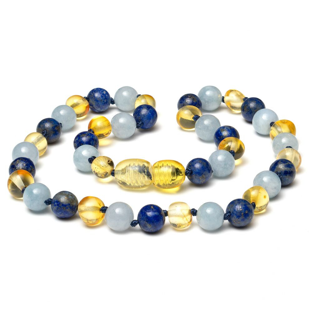 Baltic Pines™ Gemstone & Baltic Amber Teething Necklace -  Amber & Lapis Lazuli & Aquamarine
