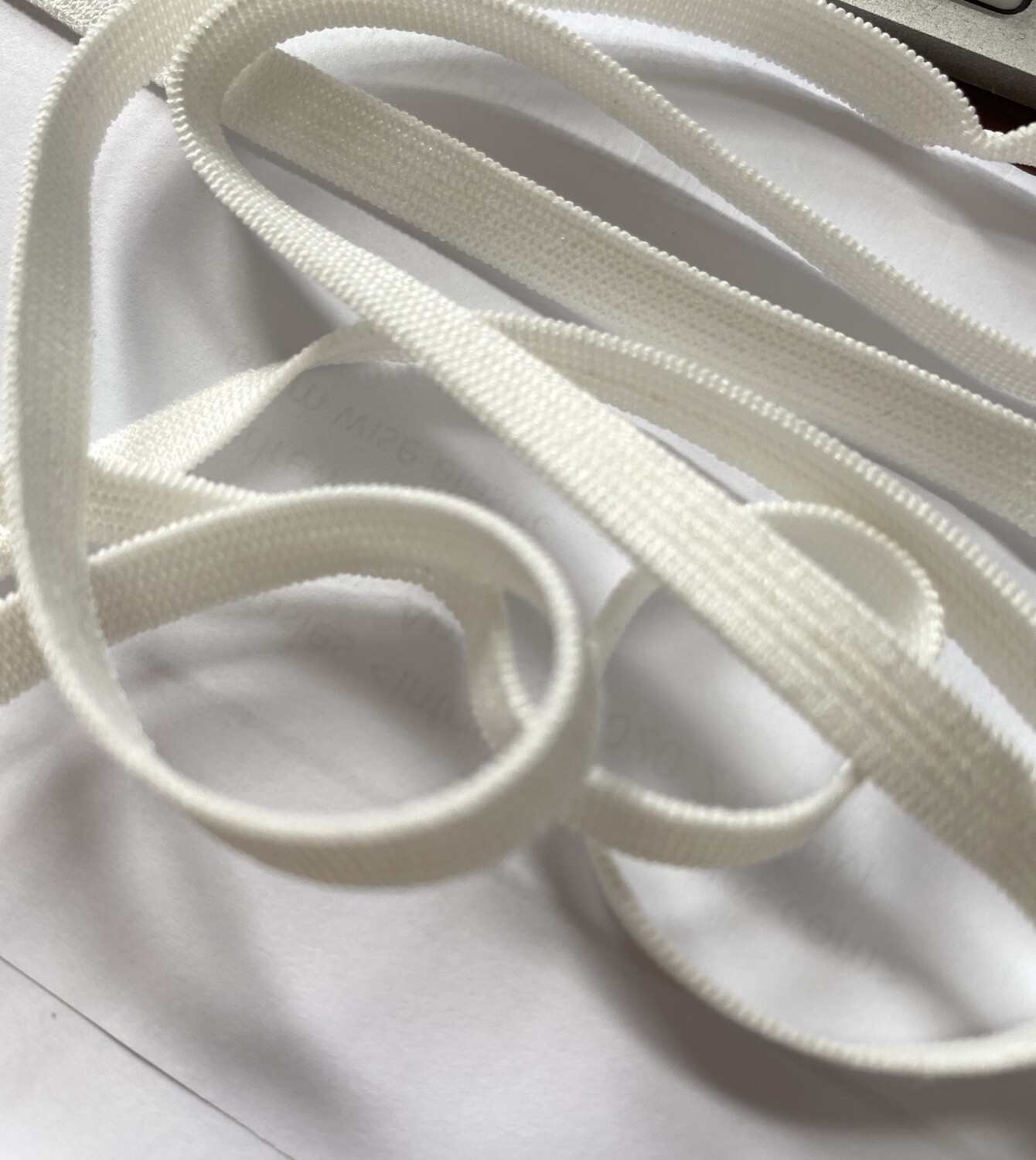 "Special Order- 1/4"" White Knit Elastic $0.50 Per Meter - Made In Canada"