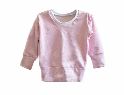 Little Sprout™ One-Size Grow with Me Crew Neck French Terry Sweatshirt in Heathered Pink - Cotton