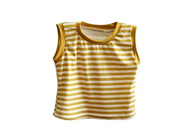 Little Sprout™ Sleeveless Stretch Tank Top -Shirt in Golden Stripes