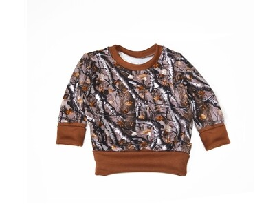 Little Sprout™ One-Size Grow with Me Crew Neck Sweatshirt - Camo - Cotton