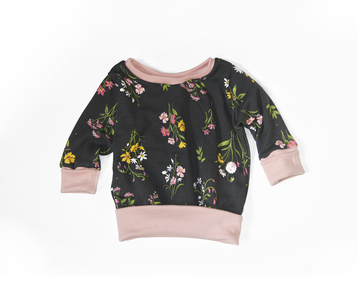 Little Sprout™ One-Size Grow with Me Crew Neck Sweatshirt in Grey Floral French Terry