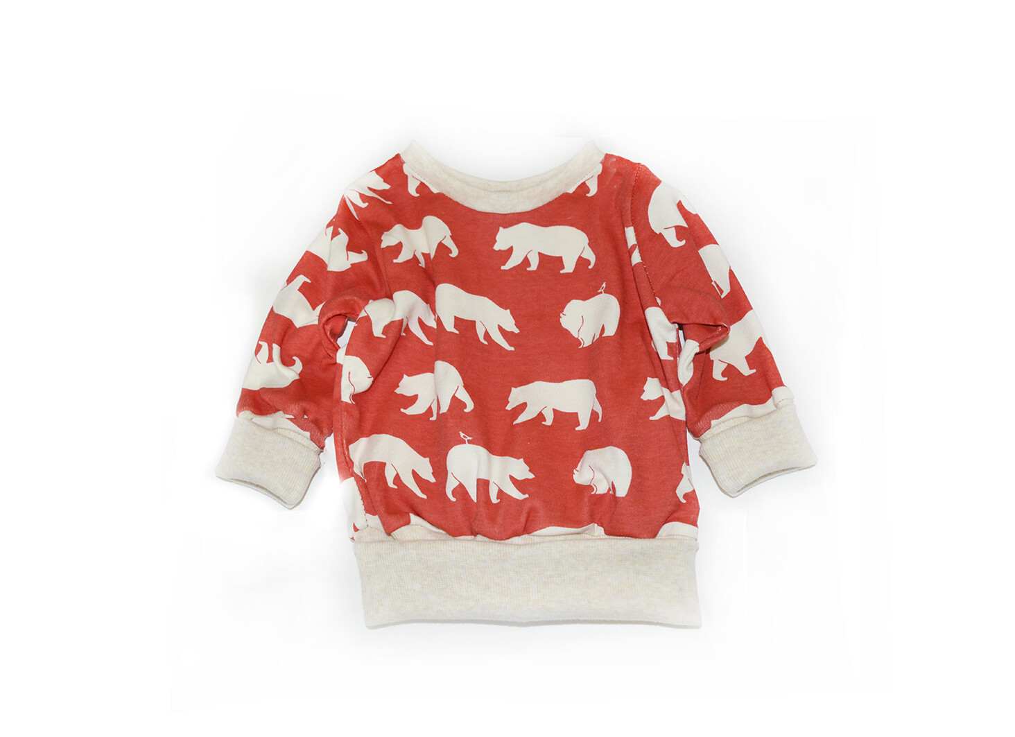 Little Sprout™ One-Size Grow with Me Crew Neck Sweatshirt - Red Bears - Cotton