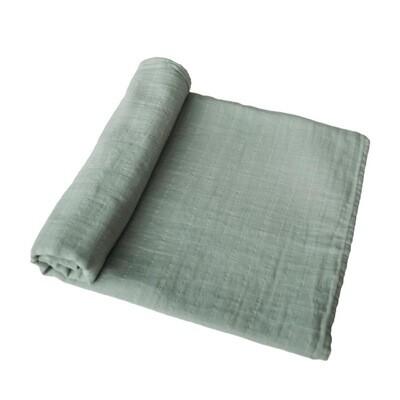 Sage Green Muslin Swaddle Receiving Blanket
