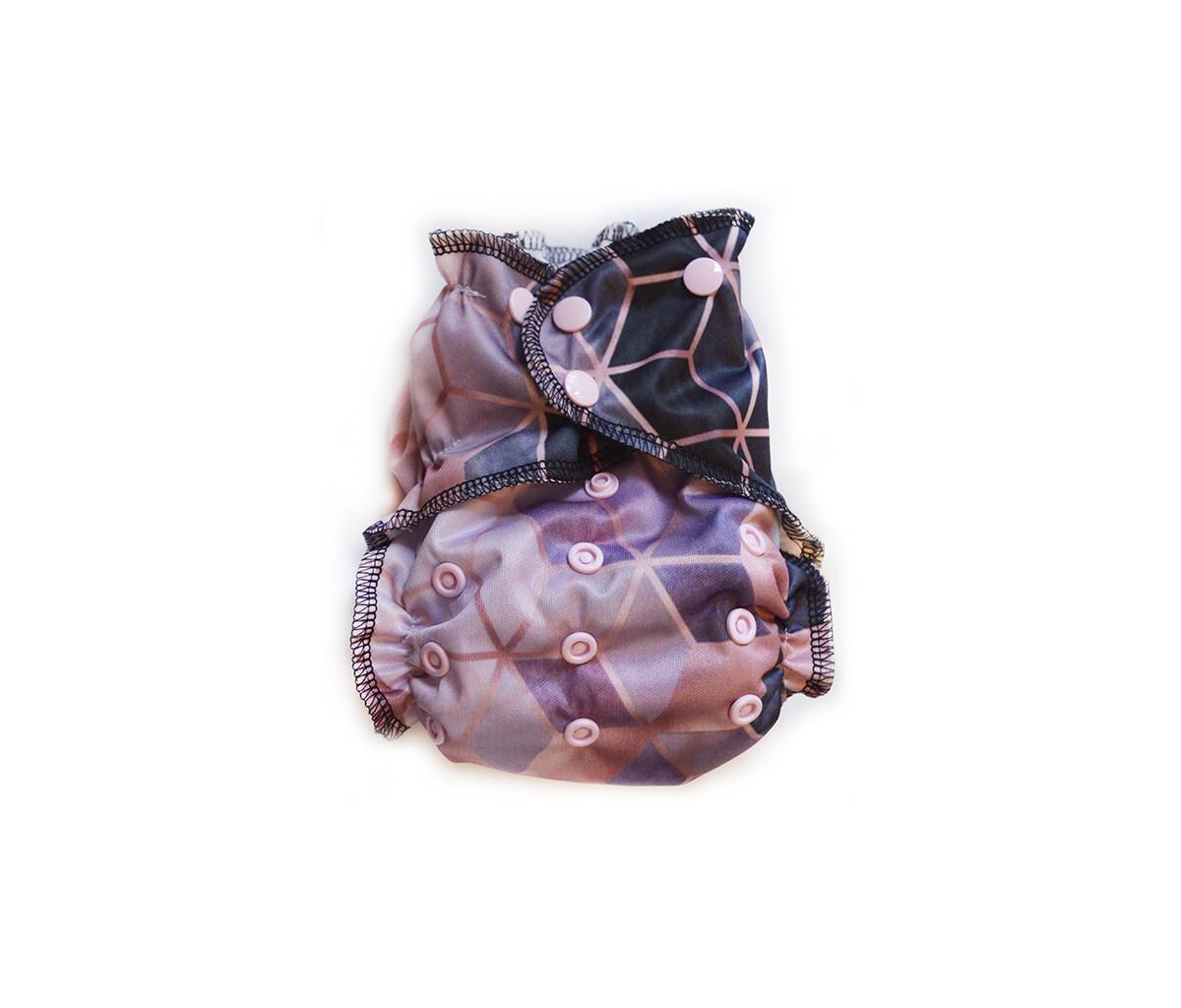 Easy Peasies One size Pocket Cloth Diaper - Pink Geo