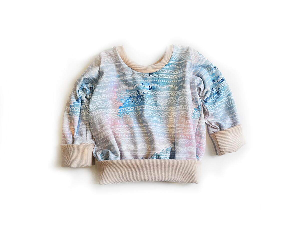 Little Sprout™ One-Size Grow with Me Crew Neck Sweatshirt in Geometric on Pink & Blue Tie Dye