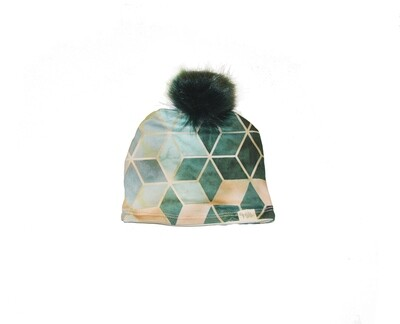 Little Sprout™ Lined Pom-Pom Beanie Hat | Green Geo