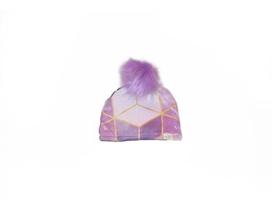 Little Sprout™ Lined Pom-Pom Beanie Hat | Pink Geo
