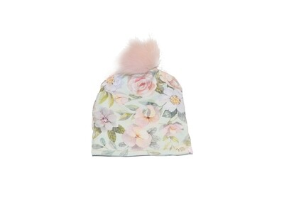 Little Sprout™ Lined Pom-Pom Beanie Hat | Mint Floral
