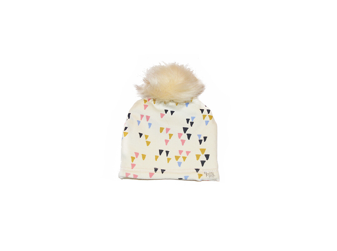 Little Sprout™ Lined Pom-Pom Beanie Hat | Triangles