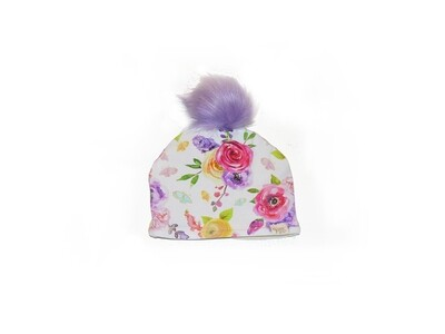 Little Sprout™ Lined Pom-Pom Beanie Hat | Watercolor Floral