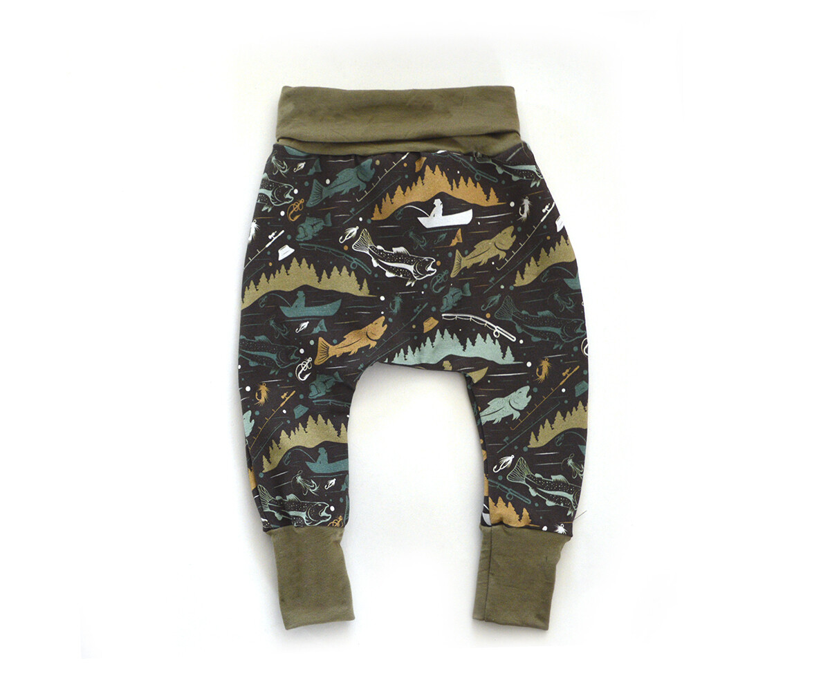 Little Sprout™ One-Size Grow with Me Harem Pants - Lightweight Summer Bottoms - Fishin'