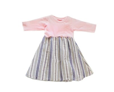 Little Sprout™ Long Sleeve Twirl Dress in Woven Stripes