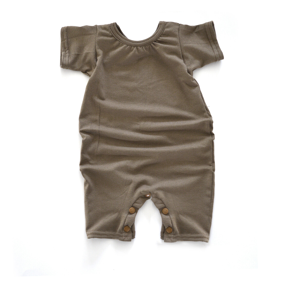 Little Sprout Short Sleeve Baby Romper - Tencel - Earth