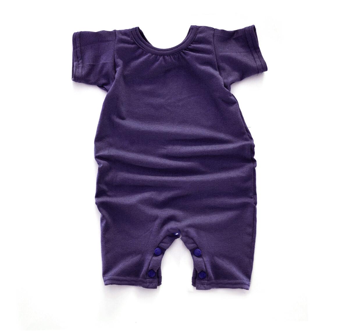 Little Sprout Short Sleeve Baby Romper - Tencel - Plum