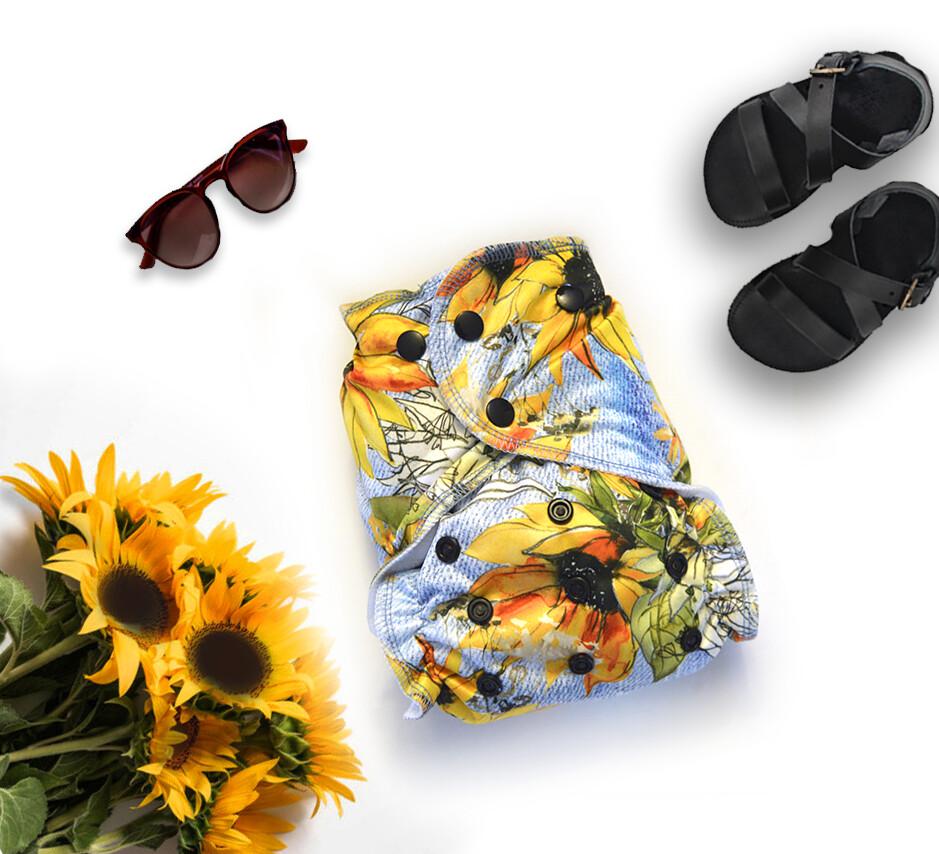 Easy Peasies® One size Pocket Cloth Diaper | Sunflower Denim