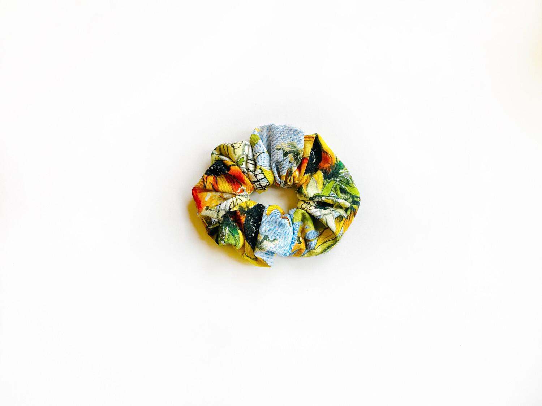 Scrunchy Hair Tie   No-Damage Hair Elastic Ponytail   Sunflower Denim