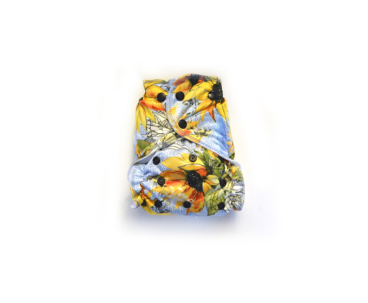 Easy Peasies® One Size Reusable Cloth Swim Diaper   Sunflower Denim
