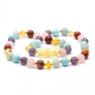 Baltic Pines™ Gemstone & Baltic Amber Teething Necklace  - Multi-gem with Honey