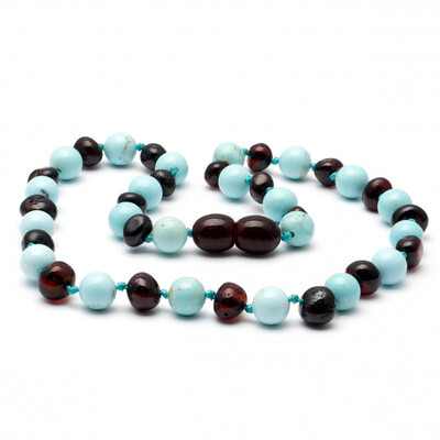 Baltic Pines™ Gemstone & Baltic Amber Teething Necklace - Dark Amber & Turquoise