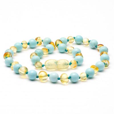 Baltic Pines™ Gemstone & Baltic Amber Teething Necklace  - Honey & Turquoise