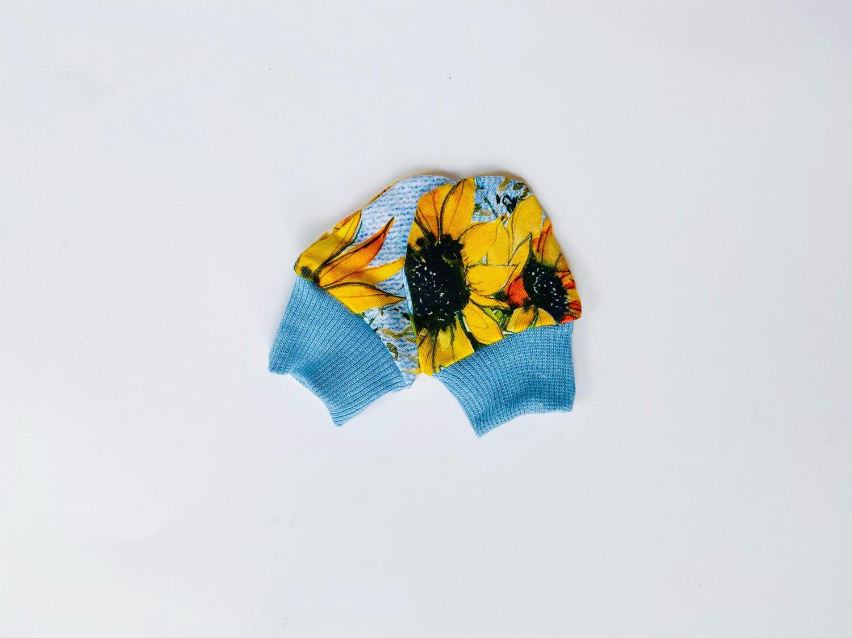 Newborn Baby Scratch Prevention Mitts   Sunflower Denim