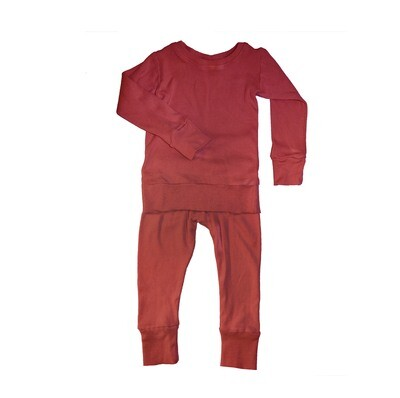 Little Sprout™ Bamboo 2-Piece Grow with Me Footless Ribbed Knit Pyjamas   Cayenne