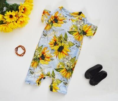 Little Sprout Short Sleeve Baby Romper | Short-all | Sunflower Denim