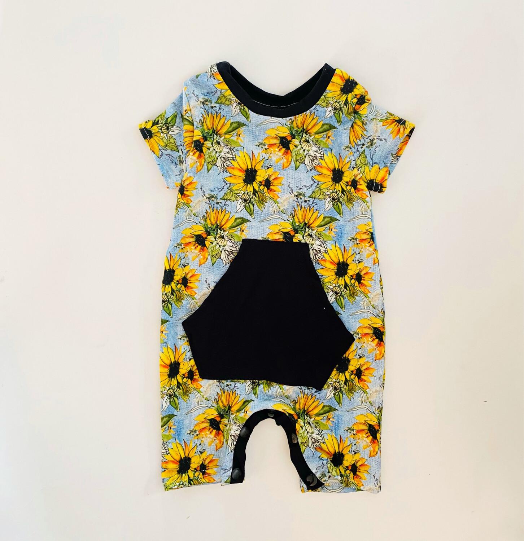 Little Sprout Bamboo Shortall Baby Romper   Sunflower Denim