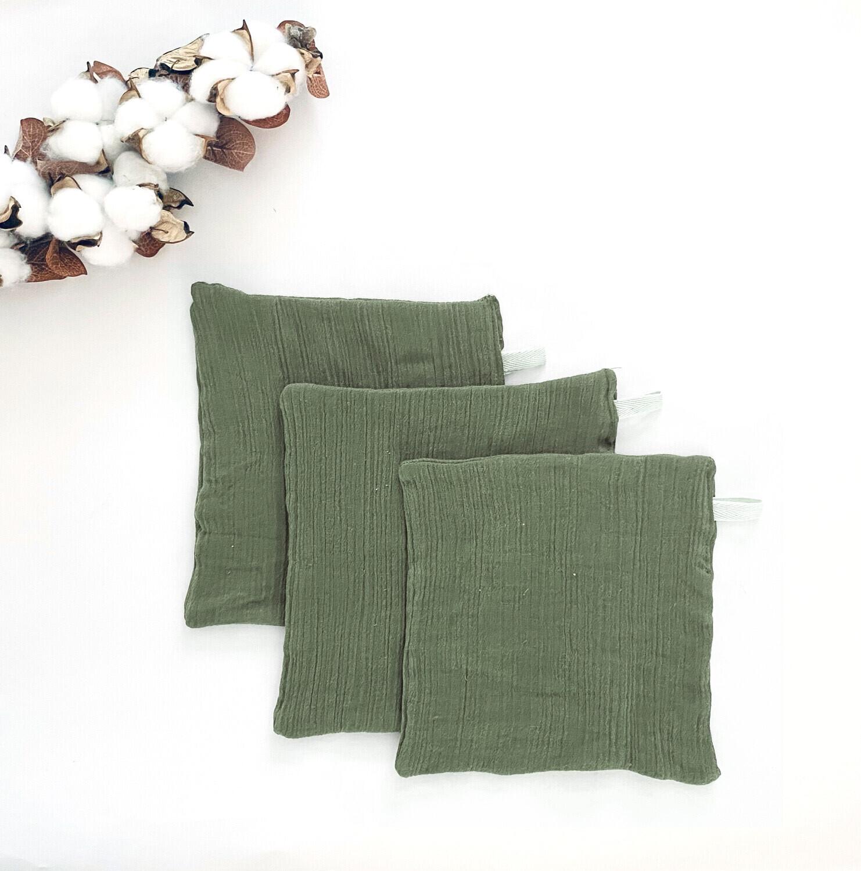 Set Of 3 2-Ply Double Gauze Cotton Muslin Washcloth Wipes | Sage