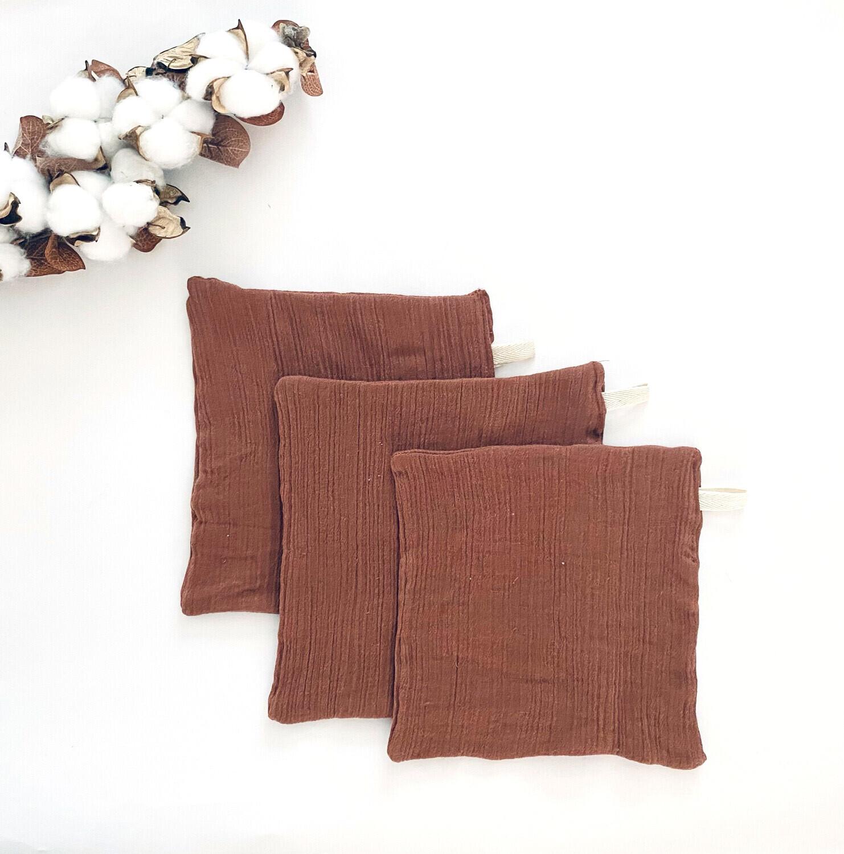 Set Of 3 2-Ply Double Gauze Cotton Muslin Washcloth Wipes | Cinnamon