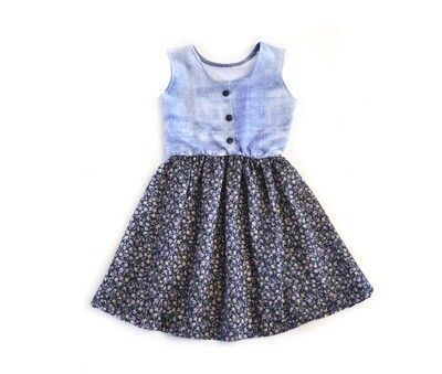 Little Sprout™  Dress   Denim Top with Woven Floral Bottom