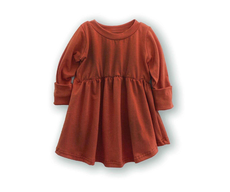 Little Sprout™ Long Sleeve Grow With Me Peplum Top | Shirt | Rust