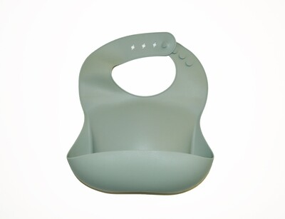 Little Sprout™ Silicon Stay-Clean Pocket Bib | Sage