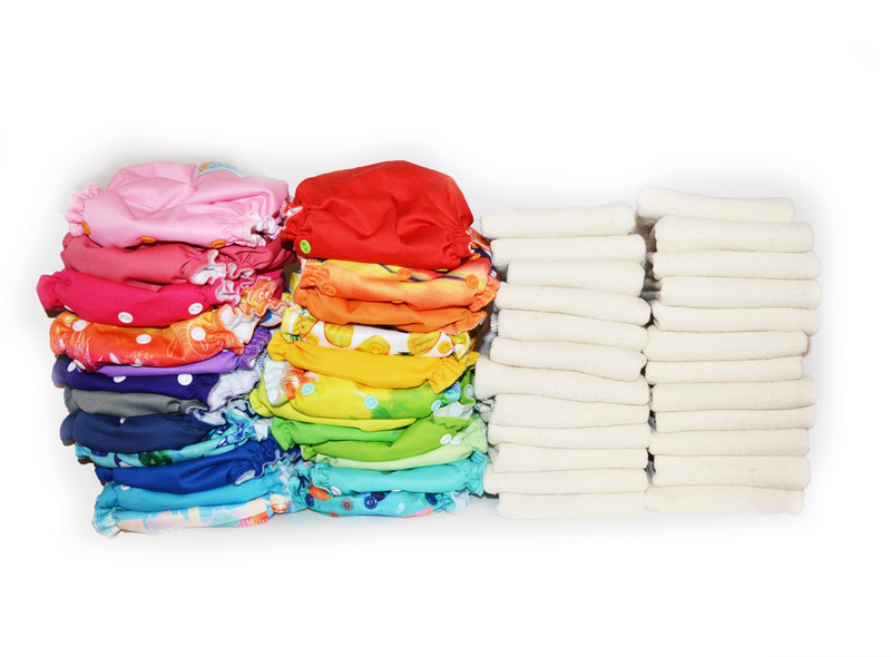 Easy Peasies® The Double Up Kit™ - 24 One Size Cloth Pocket Diaper + Inserts - Starter Pack Stash