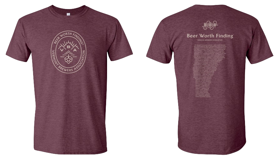 VT Brewers Beer Worth Finding T-Shirt Heather Maroon