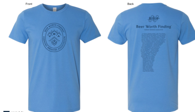 VT Brewers Beer Worth Finding T-Shirt in Iris Blue