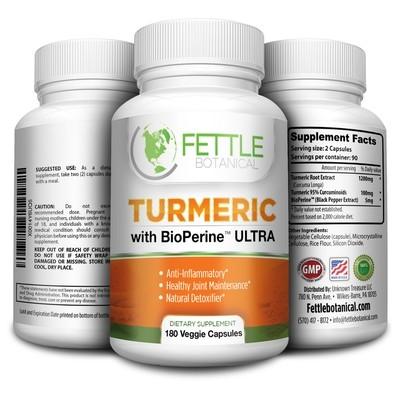 Tumeric Curcumin with Bioperine 180 Caps 1300mg Daily Dose