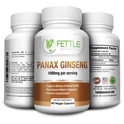Pure Panax Ginseng 1000mg per serving 180 Veggie Capsules