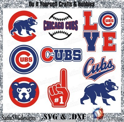 Chicago Cubs Baseball Set Design SVG Files, Cricut, Silhouette Studio, Digital Cut Files