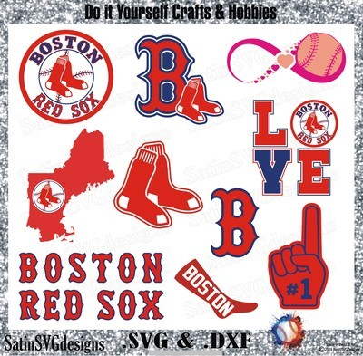 Boston Red Sox Baseball Set Design SVG Files, Cricut, Silhouette Studio, Digital Cut Files