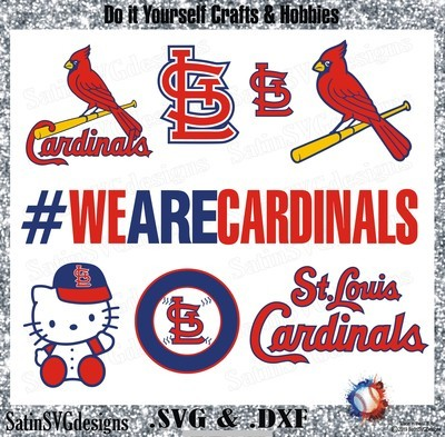 St, Louis Cardinals Baseball Set Design SVG Files, Cricut, Silhouette Studio, Digital Cut Files
