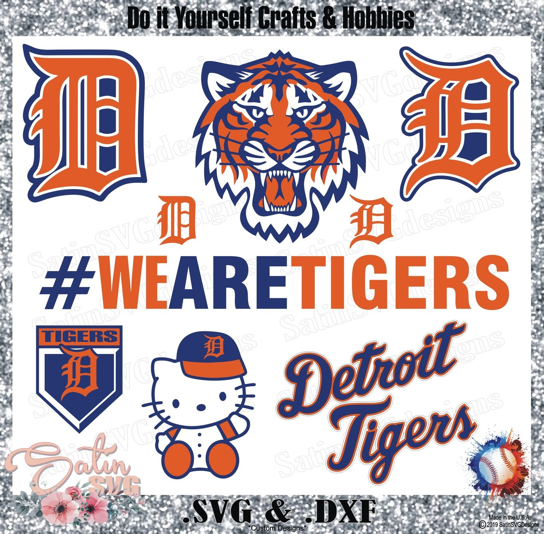 Detroit Tigers Baseball Set Design SVG Files, Cricut, Silhouette Studio, Digital Cut Files