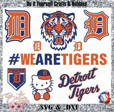 Detroit Tigers Baseball Set Design SVG Files, Cricut, Silhouette Studio, Digital Cut Files